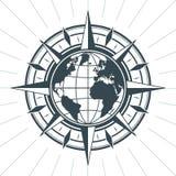 Эмблема ярлыка знака компаса винтажной старой античной розы ветра морская Стоковые Изображения