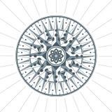 Эмблема ярлыка знака компаса винтажной старой античной розы ветра морская Стоковая Фотография RF