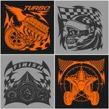 Эмблемы автогонок - иллюстрация логотипа спортивной машины на предпосылке темноты и света Стоковое фото RF