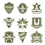 Эмблемы армии хаки иллюстрация вектора