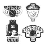 Эмблемы винтажного вектора баскетбола винтажные, ярлыки, значки, установленные логотипы Стоковое Изображение