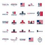Эмблемы или логотип дня патриота 11-ое сентября Мы никогда не будем забывать иллюстрация вектора