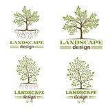 Эмблемы компании дизайна ландшафта Дерево с логотипом корней Стоковая Фотография