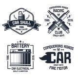 Эмблемы ремонта и гонок автомобиля иллюстрация штока
