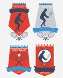 Эмблемы тенниса вектора Стоковые Изображения