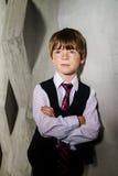 Эмотивный портрет рыжеволосого freckled мальчика, концепции детства стоковая фотография rf