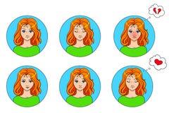 Эмоции вектора установили 6 воплощений девушек изолированных на белизне Стоковое Изображение