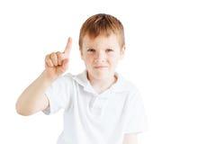 Эмоции выставки мальчика на белой предпосылке Стоковые Изображения RF