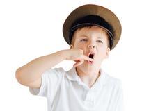 Эмоции выставки мальчика на белой предпосылке Стоковое фото RF