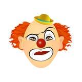 Эмоции клоуна - презрительность, отвращение, цинизм, презрение Иллюстрация вектора плоского дизайна Стоковое фото RF