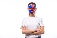 Эмоции победы, счастливых и цели клекота исландского футбольного болельщика Стоковые Фото