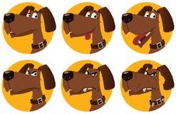 Эмоции собаки шаржа Стоковое Фото