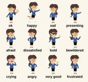 Эмоции характера бизнес-леди Стоковое Изображение RF