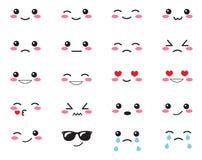 Эмоции японца установленные Установленные японские улыбки Kawaii смотрит на на белой предпосылке Милый стиль аниме эмоций собрани Стоковая Фотография RF