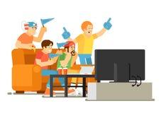 Эмоциональные вентиляторы спорт смотря игру на ТВ бесплатная иллюстрация