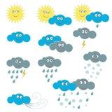 Эмоциональные различные значки погоды на белой предпосылке стоковые фотографии rf