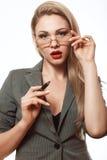 Эмоциональная блондинка в деловом костюме Стоковое Изображение RF