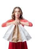 Эмоциональная девушка делая покупки Стоковая Фотография RF