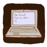 Эмоциональная компьтер-книжка утомлена и хочет быть одной Стоковое Изображение RF