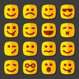 Эмоциональный квадратный комплект значка сторон желтого цвета бесплатная иллюстрация