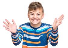 Эмоциональный портрет предназначенного для подростков мальчика Стоковые Фотографии RF