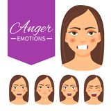 Эмоция гнева иллюстрация вектора
