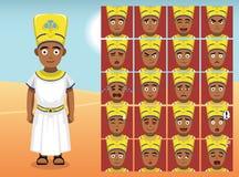 Эмоция шаржа Египта Menes смотрит на иллюстрацию вектора Стоковое Фото