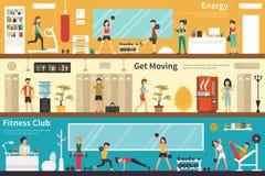 Энергия получает Moving фитнес-клубу плоскую внутреннюю внешнюю сеть концепции иллюстрация вектора