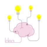 Энергия электрической лампочки идеи от иллюстрации мозга Стоковое Изображение RF