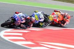 Энергия Grand Prix изверга Catalunya MotoGP Водители Lorenzo, Rosi, Marquez MotoGP Стоковое фото RF
