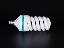 Энергосберегающая изолированная лампа на черной предпосылке Стоковое Фото