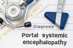 Энцефалопатия диагноза портальная внутрирастительная Неврологическое лабораторное исследование молотка, стетоскопа и печени лежит Стоковая Фотография