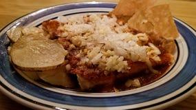 Энчилада цыпленка и сыра Типичное мексиканское блюдо с totopos и картошками стоковое изображение