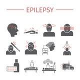 эпилепсия Симптомы, обработка Плоские установленные значки Знаки вектора иллюстрация штока