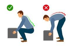 Эргономика - правильная позиция для того чтобы поднять тяжелый объект иллюстрация штока