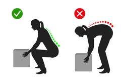 Эргономика - правильная позиция женщины для того чтобы поднять тяжелый силуэт объекта иллюстрация вектора