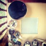 Эргономические раковины таблицы Buda Ganesh кота стоковое фото rf
