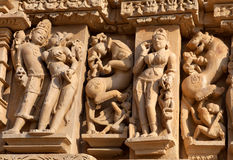 эротичный известный висок khajuraho Индии Стоковая Фотография