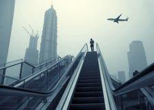 Эскалатор улиц Шанхай стоковое изображение