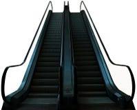 Эскалатор в предпосылке белизны изолята мола Стоковые Фотографии RF