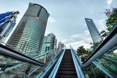 Эскалатор улиц Шанхая стоковая фотография rf
