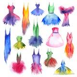 Эскизы акварели платьев бесплатная иллюстрация