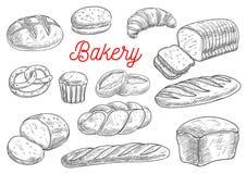 Эскизы вектора продуктов хлеба и хлебопекарни бесплатная иллюстрация