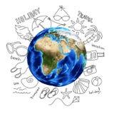 Эскизы лета вокруг земли Стоковое фото RF