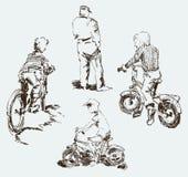 эскизы детей на велосипедах в улице города иллюстрация штока
