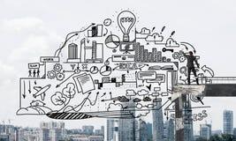 Эскизы дела чертежа бизнесмена схематические Стоковая Фотография
