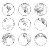 Эскизы континентов на земле планеты Мировой океан бесплатная иллюстрация