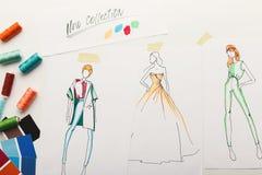 Эскизы нарисованные рукой для нового собрания моды Стоковая Фотография RF