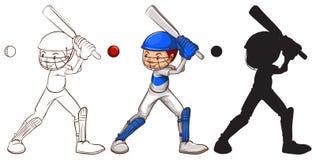 Эскизы человека играя бейсбол Стоковое Изображение RF