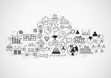Эскизы buseness притяжки руки doodle infographic Стоковая Фотография